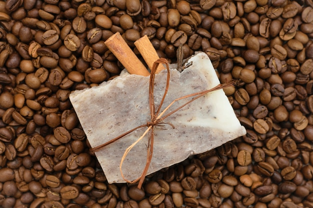 Natural soap with coffee, coffee scrub, spa skin care.