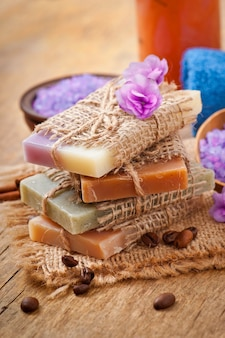Natural soap on wooden table