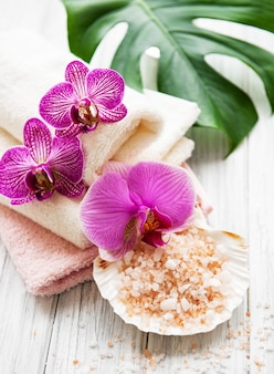 Natural spa ingredients with orchid flowers