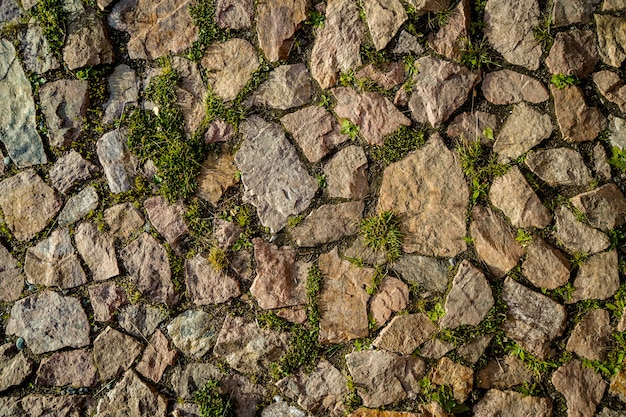 Natural stone pavement with small grass and plants between the stones