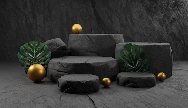 Natural stone podium. backdrop for product display with tropical leaves. 3d rendering