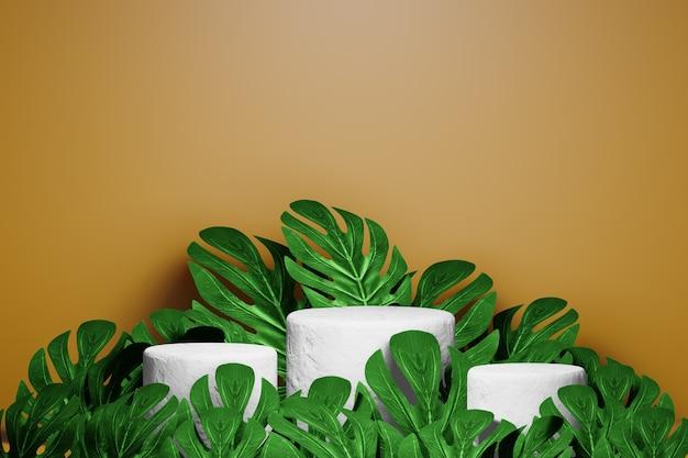 熱帯の葉を持つ天然石の表彰台。製品ディスプレイの背景、3dレンダリング