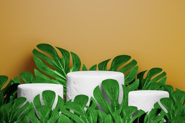 熱帯の葉と天然石の表彰台