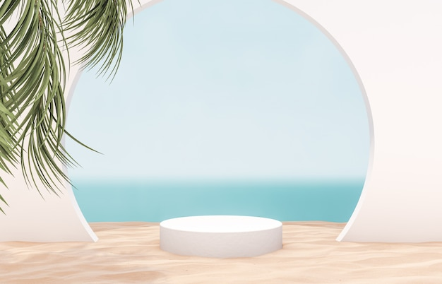 Natural summer beach backdrop with white cylinder and palm tree for product display