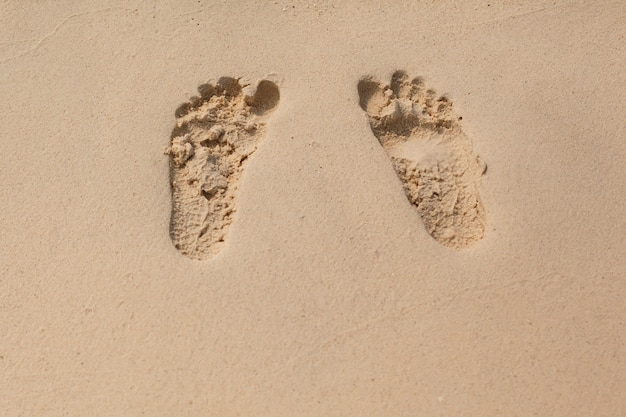 Natural texture and background. footprints in the yellow sand on the beach