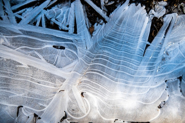 Natural texture of ice structure and snow