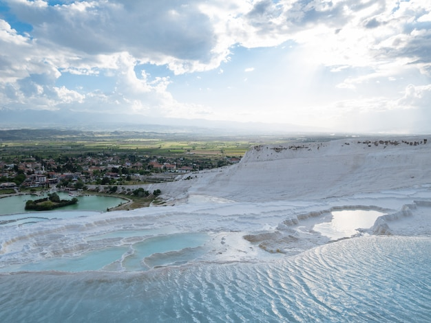 Natural travertine pools in pamukkale.