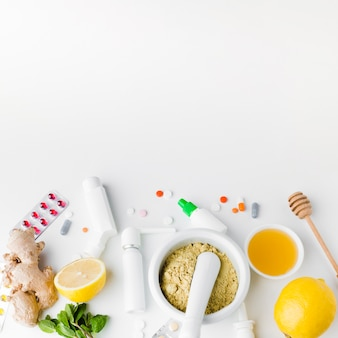 Natural treatment and pharmacy pills copy space