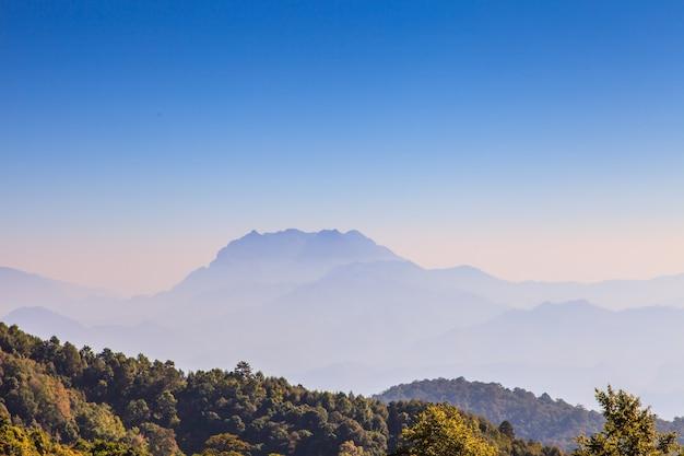 タイの自然ビュー高森林ビュー山