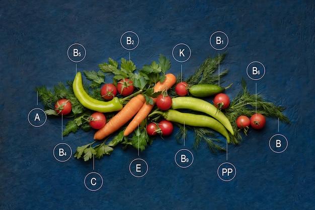 천연 비타민 개념. 야채의 비타민. 야채와 허브의 상위 뷰