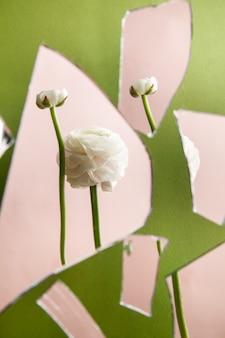 壊れたガラスの緑とピンクの背景の断片のぼやけた背景に配置された自然な白い花