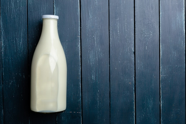 Natural whole milk in a bottle
