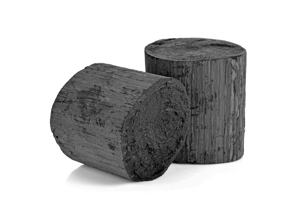 Natural wood black charcoal isolated on white