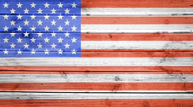 アメリカ合衆国の国旗の色と天然木の板のテクスチャ背景