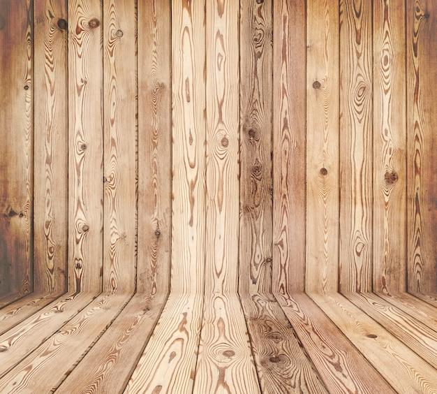 Интерьер комнаты из натурального дерева - стены и пол