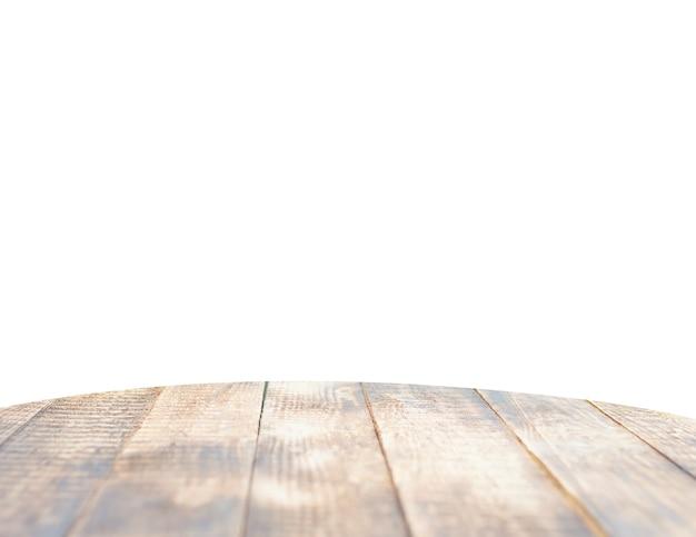 격리 된 흰 바탕에 천연 나무 테이블 탑입니다. 제품을 표시하거나 몽타주하는 데 사용할 수 있습니다.