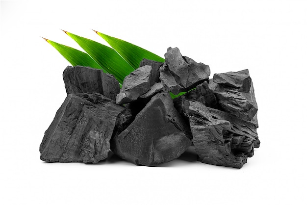 Natural wooden charcoal isolated on white background.