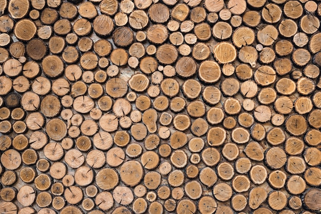 Natural wooden logs background