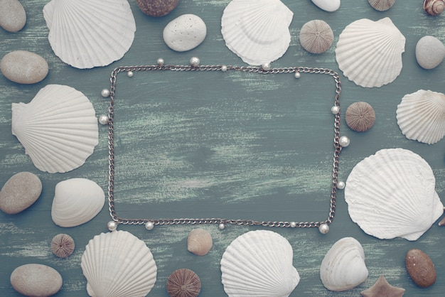 Natural wooden retro sea shell stone background.