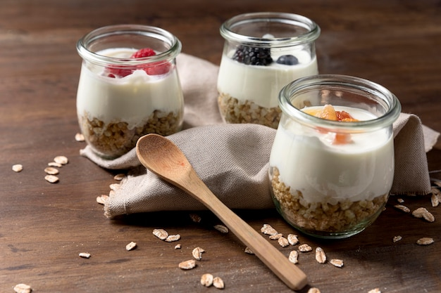 Natural yougurt with granola cereals and fruits