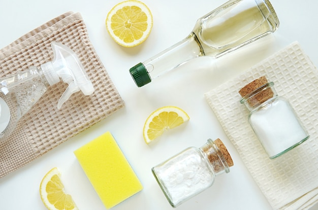Natural, zero waste home cleaning products, vinegar, salt, lemon, baking soda