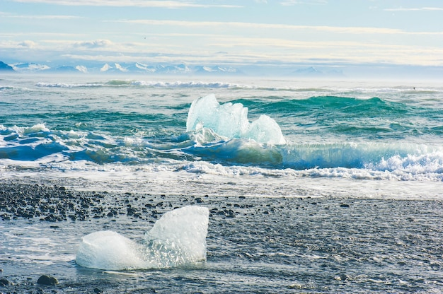Nature background ice glacier lagoon in iceland
