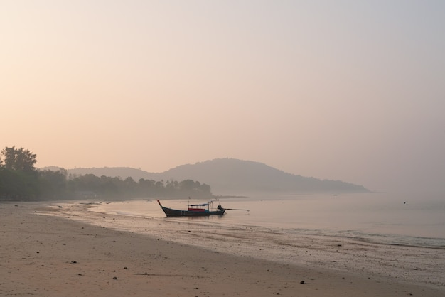 휴가 휴식 라이프 스타일 풍경 개념에 대한 해변 해변 파도 해안선, 안개, 안개, 햇빛 물 표면의 자연 배경