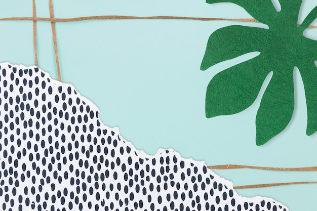 Nature background with green leaf paper collage