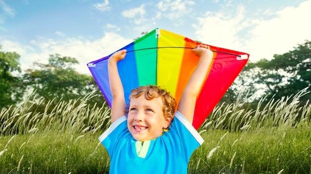 Nature cheerful childhood little boy child happy