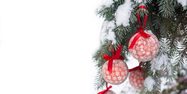 Природа рождество со снежной веткой и красными шарами