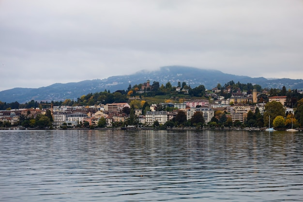 The nature cityscape and lake view on lake geneva in montreux, switzerland