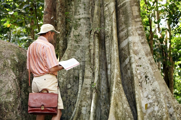 Nature and environmental protection and conservation. botanist in hat and shirt reading notes in his notebook while studying characteristics of emergent tree in rainforest on sunny day.