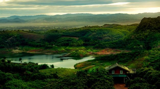 자연, 저녁, 사진, 풍경, 산, 치앙 라이