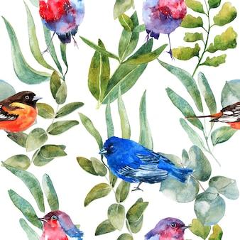 自然の花と葉の水彩のシームレスなパターン背景