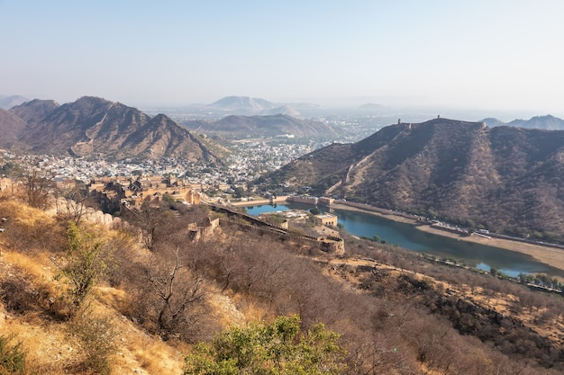 Nature and forts of jaipur hills, panorama of india.