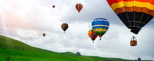 Nature landscape hot air balloons festival in sky.
