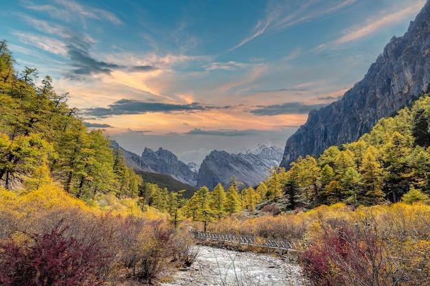 Изображение ландшафта природы, национальный парк doacheng yading, сычуань, китай. озеро и очень холодная погода