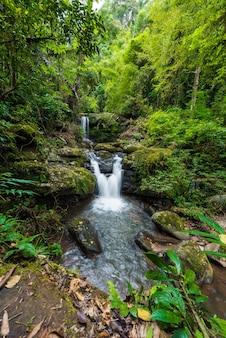 Nature landscape of sapan waterfall at sapan village, boklua district