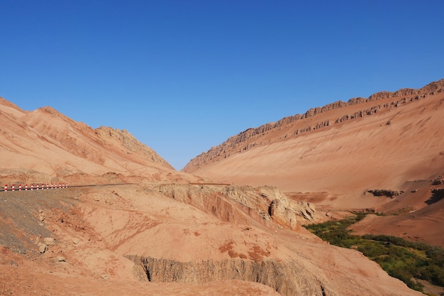 Nature landscape view of the flaming mountain valley in turpan xinjiang province china.