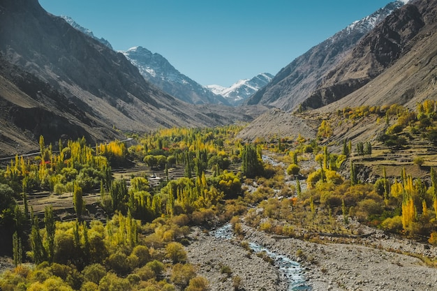 Nature landscape view of foliage in autumn surrounded by mountains in karakoram range, pakistan.