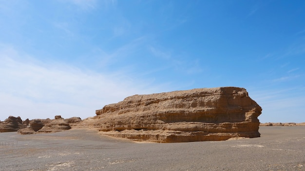 Nature landscape view of yardang landform under sunny blue sky in dunhuang unesco global geopark, gansu china.
