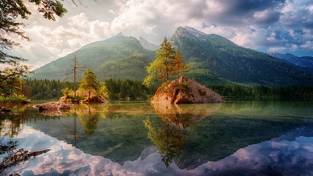 Nature landscape with lake and mountain