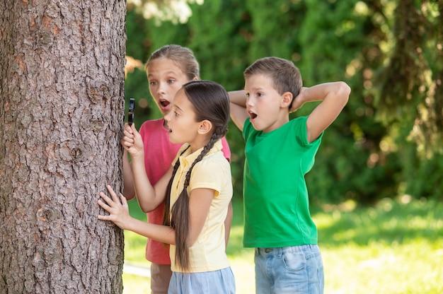 Любители природы. удивленные длинноволосые девушки с открытым ртом с увеличительным стеклом и мальчик, стоящий возле дерева в зеленом парке