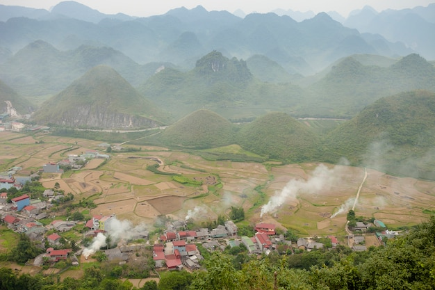 Nature majestic mountains landscape in ha giang, vietnam