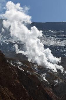 カムチャツカの性質:カムチャツカ半島の活発なムトノフスキー火山の火口の噴気孔。ロシア、極東。