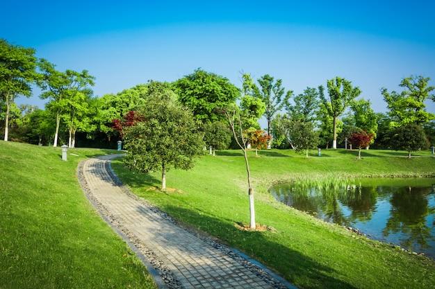 Parco naturale all'aperto e sentiero pedonale su strada