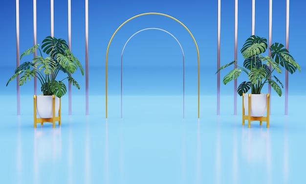 自然植物3d現実的な青い背景の表彰台
