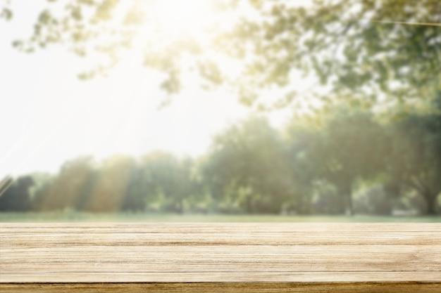 自然製品の背景、緑の木々と日光