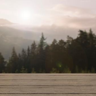 자연 제품 배경, 소나무와 산