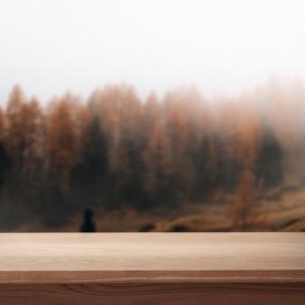 Фон продукта природы, сосна и гора